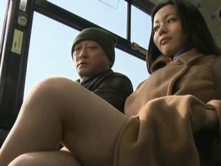 Concupiscent passenger manhandles sexy honey in public