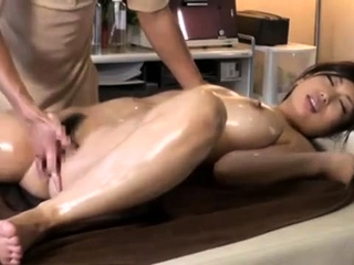 Rub-down with twat fingering for Japanese girl