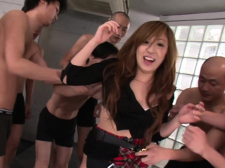 Perfect Japanese schoolgirl in a fuck and suck gangbang